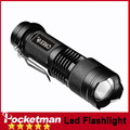 zk60 CREE Q5 LED Flashlight 100% Authentic POCKETMAN 2000 Lumens 3-Mode Zoomable Focus Torch by 1*14500 Free Shipping