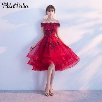 d467da4313 Vino rojo alta baja y vestidos 2019 Sexy cuello barco el lujo hombro  apliques flor tul corto vestidos de baile plus tamaño