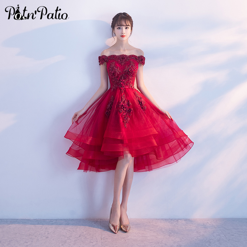 Wine Red High Low   Prom     Dresses   2019 Sexy Boat Neck Off The Shoulder Luxury Appliques Flower Tulle Short   Prom     Dresses   Plus Size