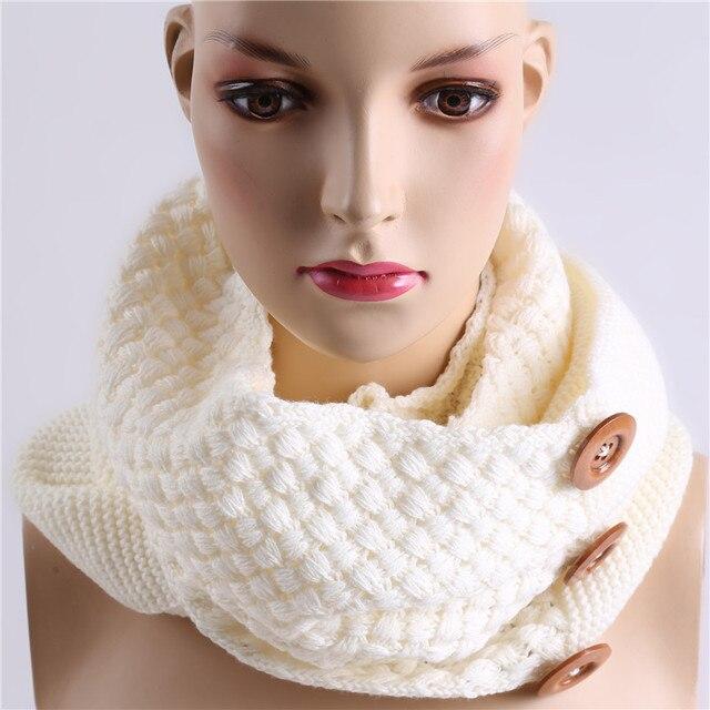 Moda invierno bufanda cálida 3 botones de tejer anillo bufanda ...