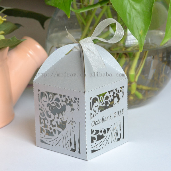 Laser Cut Wedding Silver Favors Paper Gift Bags For Guests Box Bride And Groom In Wring Supplies From Home Garden On