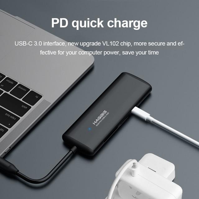 Hagibis Type-C HUB Multi-function USB 3.0 HUB USB C To HDMI/VGA/AUX/RJ45/SD/TF Card Reader/PD Charging Adapter For MacBook PC USB Hubs