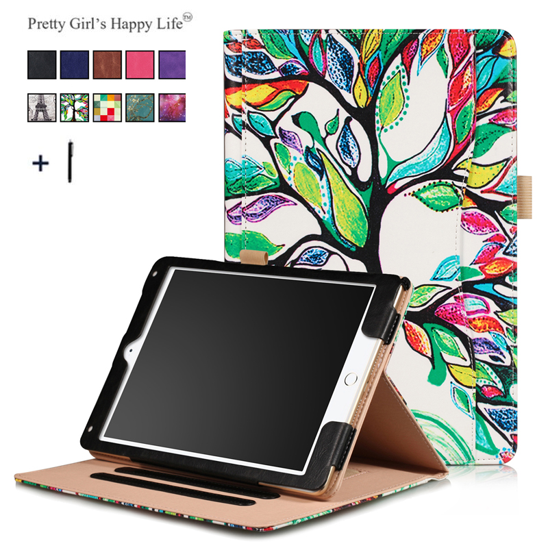 Universal Tablet Case For iPad 2018 Flip leather Stand Cover For iPad 9.7 2018 Frame Card Slot Hand Holder For iPad Air 2 +Pen