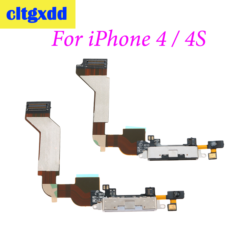 Cltgxdd USB Charging Port Connector Charge Dock Socket Jack Plug Flex Cable With Microphone For IPhone 4 4G 4S