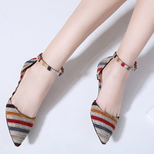 HEE GRAND Women Pointed Toe Shoes Low-heeled Pumps Summer 2019 Casual Buckle Strap Striped Slip On Sandals Ladies Shoes XWD7609