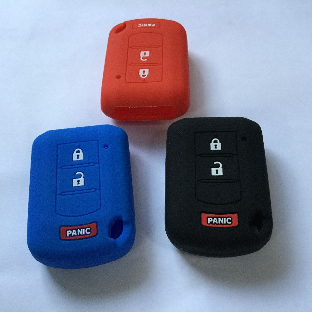 2+Panic Silicone Key Protect Case Holder For Mitsubishi LANCER Grandis Pajero Mirage ASX Outlander Colt 3 Button Key Cover