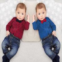 Newborns Clothes New Red Plaid Rompers Shirts Jeans Baby Boys Clothes Bebes Clothing Set 6 24month