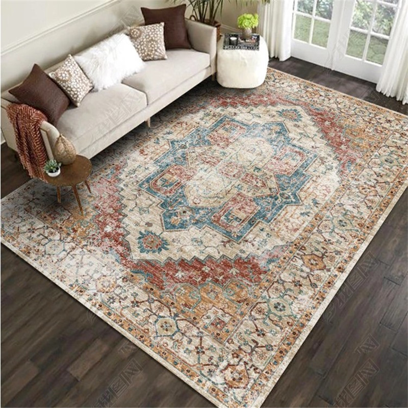 American Style Vintage 200x300CM Carpet For Living Room Bedroom Floral Study Room Large Rugs Tapis Non-slip Floor Door Mat