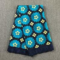 Дубай Африки кружевной ткани Темно синие с бирюзовой Стразы Кружева 048 5 ярдов 100% хлопок кружевное платье для вечерние