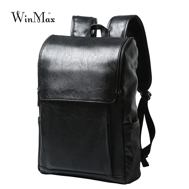 WInmax PU Leather Backpack Men Business Rucksack Fashion Bag Student Schoolbags Men Travel Bags For Teenagers Backpacks
