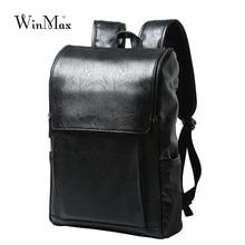 WInmax PU Leder Rucksack Männer Business Rucksack Mode Tasche Schulranzen Student Männer Reisetaschen für Jugendliche Rucksäcke