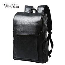 を Winmax Pu レザーバックパック男性ビジネスリュックファッションバッグ学生ランドセル旅行のための袋ティーンエイジャーバックパック