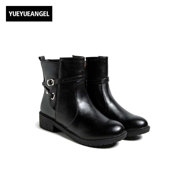 Fashion Pu Leather Womens Ankle Boots Buckle Design Low Heel Comfort Botas Feminina Round Toe Footwear Korean New Zapatos Mujer