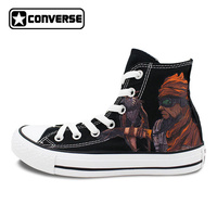 Original Converse All Star Unisex Skateboarding Shoes Canvas Sneakers Borderlands Mordecai Design Hand Painted Shoes