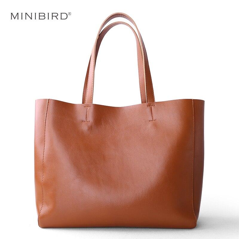 Women Luxury Genuine Leather Casual Totes Lady Soft Cowhide Shopping Bag Daily Use Handbag Ladies Simple Design Brown Black Bag цена
