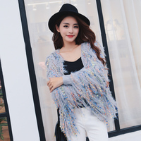 Luxury Fashion Long Sleeve Knitted Tassel Mohair Cardigans Sweater Women Colorful Knitted Coat 2017 Autumn Knit