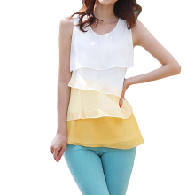 2017 NEW Cute Women Chiffon Tank Tops Cascading Ruffles Sleeveless Blouse Shirt