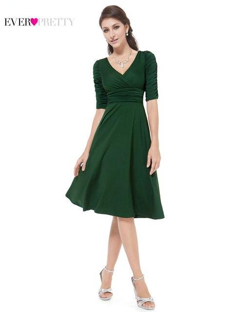 8657e4d168a9ff [Wyprzedaż] Ever-Pretty Kobiet Rocznika Sukienki Koktajlowe Linia Połowa  Rękawem Elegancki V Neck