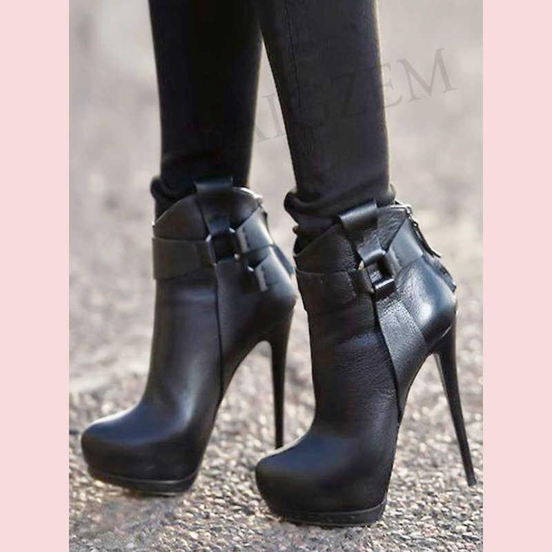 LAIGZEM moda siyah yarım çizmeler platformu patik yüksek topuk geri Zip kısa çizmeler su geçirmez ayakkabı kadın bayanlar büyük boy 34-47