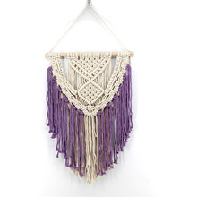 New Bohemian tapestry cotton hand-woven creative purple beige home decoration craft wall hanging accessories curtain macrame