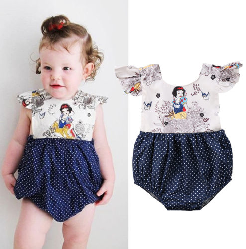 Cute New Newborn Baby Girl Animals Print Floral Romper Jumpsuit Cartoon Backless Dot Outfits Clothes Summer