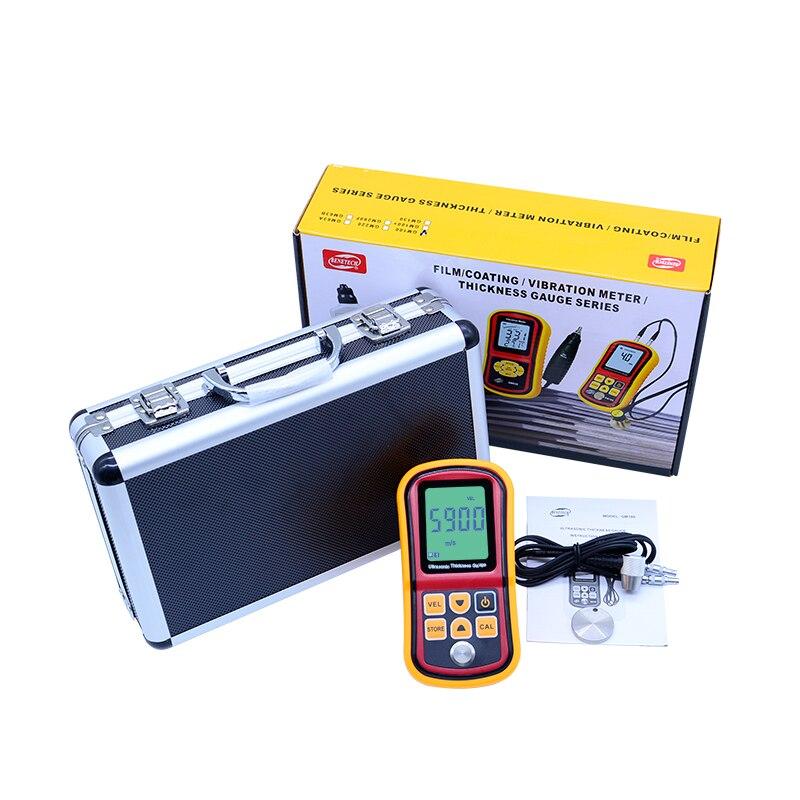 Digital Ultrasonic Thickness Gauge tester  GM100 Digital LCD display 1.2 to 200MM Sound Velocity Meter with aluminium retail box gm130 digital lcd display ultrasonic thickness gauge metal testering measuring instruments 1 0 to 300mm sound velocity meter