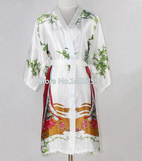 Горячий новый белый китайских женщин шелковый халат платье сексуальные короткий кимоно ночная сорочка отпечатано фея пижамы Большой размер S-XXXL NR045