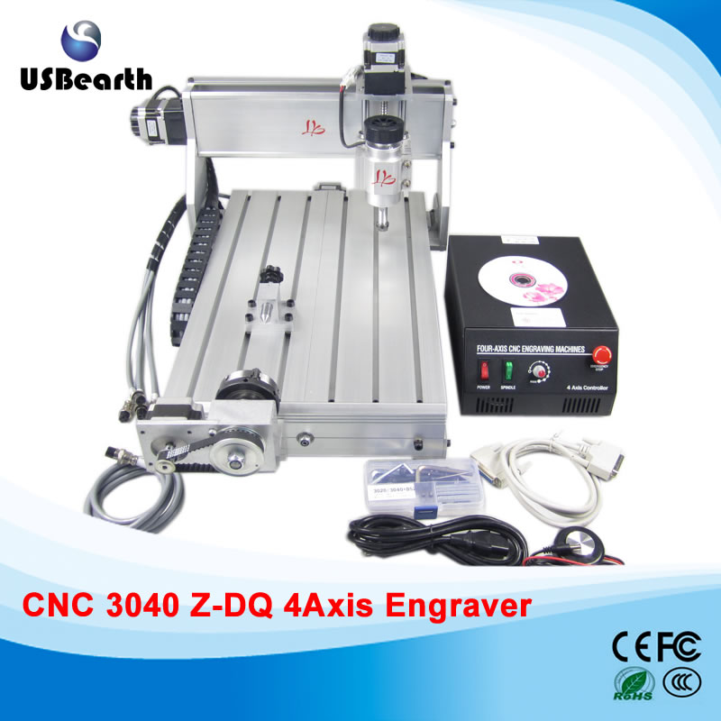 CNC 3040Z-DQ 4axis rotary axis CNC Router Engraver/Engraving Drilling and Milling Machine,free tax to Russia free ship to russia no tax cnc 3040z s cnc engraving machine cnc router 3040 series water cooled engraver