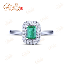Pure 14kt White Gold 0.96ctw Colombian Emerald Diamond Engagement Ring Free Shipping