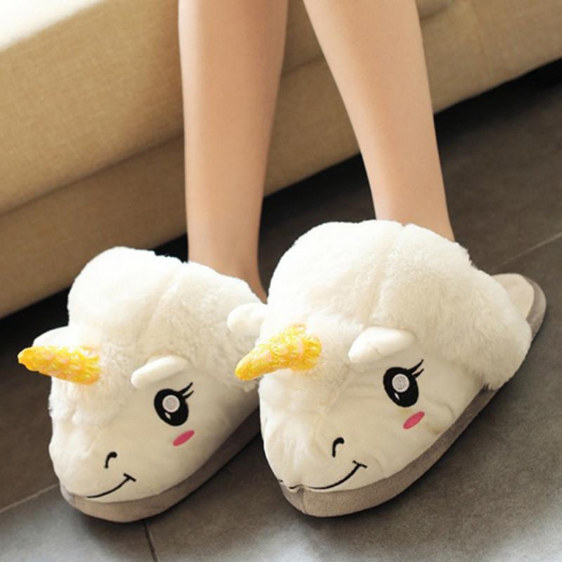 Winter cartoon unicorn cute indoor slippers women fluffy plush warm home bedroom slides ladies house soft lovers cotton shoes big size44 warm home slippers women bedroom winter slippers cartoon slippers fur slides autumn lovers female indoor soft bottom