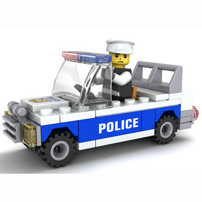 62pcs Children City Police Car Educational Building Blocks Assemblage Bricks Police Series Birthday Gifts Kids Toys K2600-20006 city series police car motorcycle building blocks policeman models toys for children boy gifts compatible with legoeinglys 26014