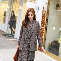 Pracy Kratę Jesień Kobiety Slim Blazers Kurtka Miękkie Femme Notched Blazer Urząd Lady Brązowy Mody Odzieży Wysokiej Jakości