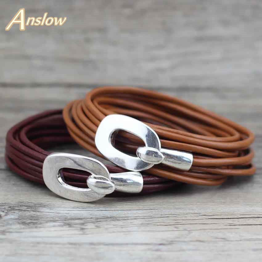 Anslow Vintage Style 2.5mm Läder Handgjorda Wrap Multilayer Women Men Girl Armband Bangle Classic Bästa Vän Gift LOW0357LB