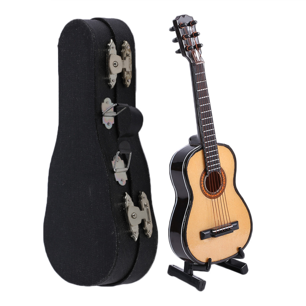 Mini miniature wooden wood acoustic guitar musical for Acoustic guitar decoration