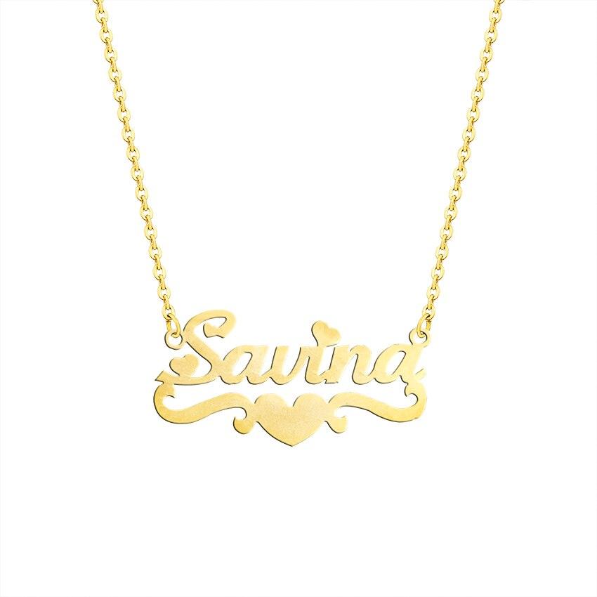 Trendy Handmade Custom Name Pendant With Heart Any Personalized Letter Choker Necklaces Women Men Engraved Best Friend Gift Idea trendy letter heart round rhinestone bracelet for women