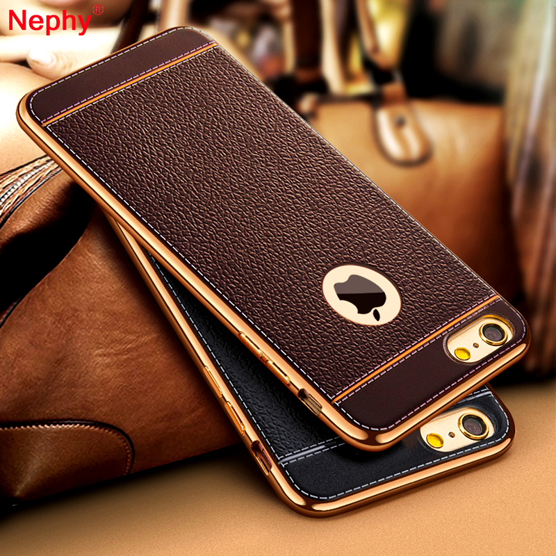 Nephy Luxury Leather Case For iPhone 7 Plus Cover Plating Gold Frame Case For iPhone 6 6s 6Plus 6sPlus 7Plus 5 5s se Cover