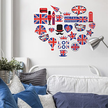 KEDODE Self adhesive wall sticker living room bedroom bedside continental England London background wall decorative stickers
