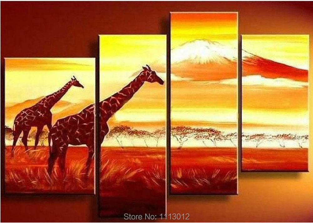 ᗖModern Africa Giraffe Grassland Tree Oil Painting On Canvas ...