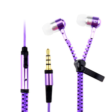 Zipper Earphone in-Ear Metal Bass MP3 Mp4  Music 3.5mm with Microphone Stereo Cellphone Earpieces with Mic for All Phone