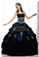 Satin Embroidery Pleat Ball Gown Royal Blue Quinceanera Dresses