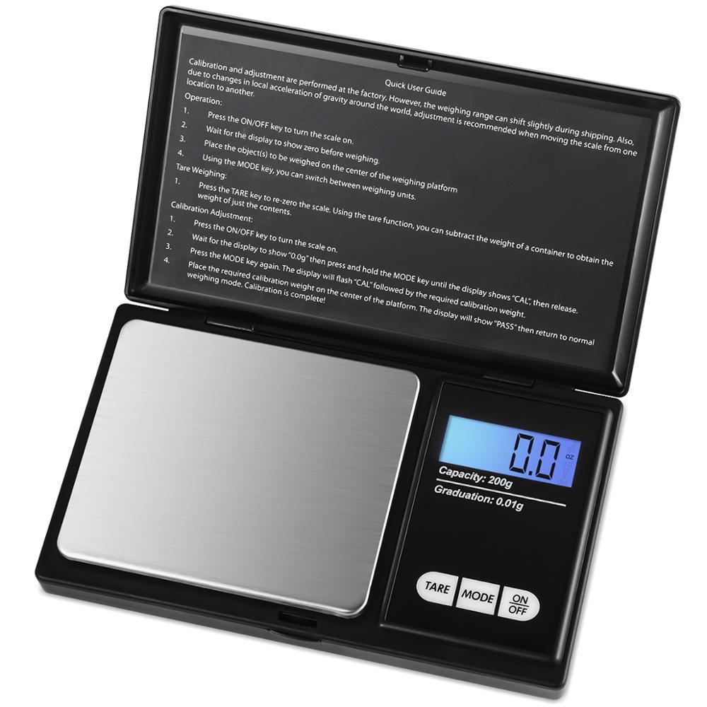 Funzione Tara Brifit Bilancia da Tasca Digital, Bilancia Alimentare di Precisione con Peso di Calibrazione 50g Scala Intelligente con Retroilluminazione LCD 6 Unit/à 200 x 0.01 g