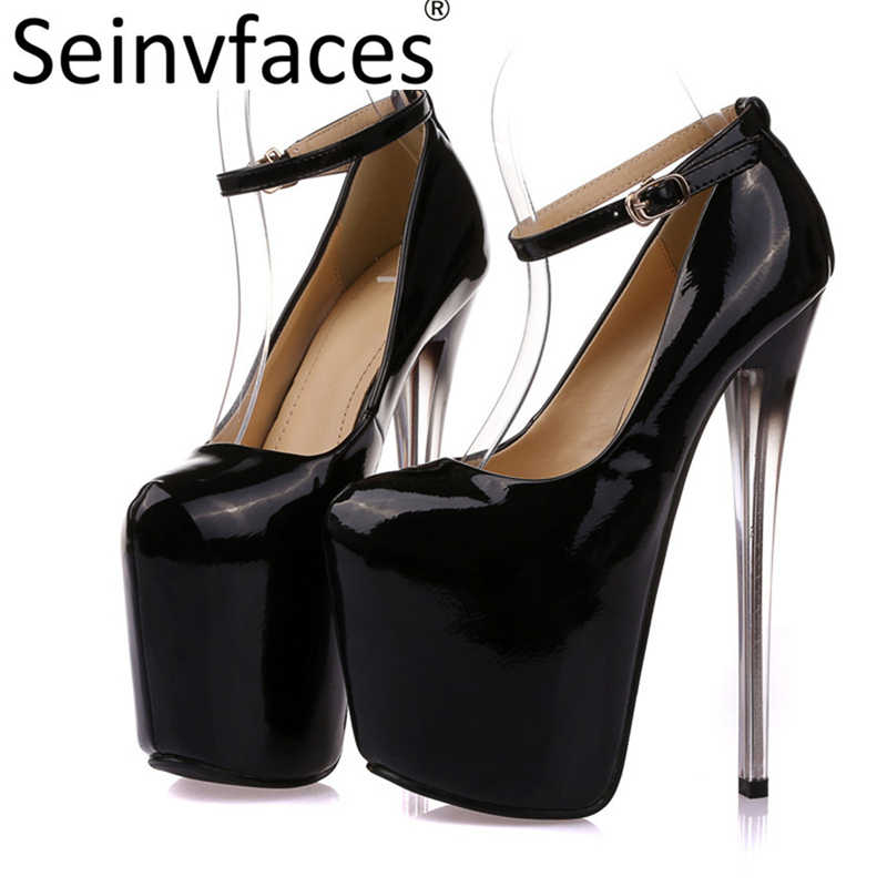 Women sexy black plus size 41 42 43 round closed toe on the platform 20 cm 7203ce24d04a