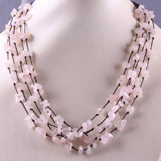 Free Shipping 5X8MM Chip Beads Nylon Line Weave Natural Stone Pink Crystal Necklace 19 1Pcs E088