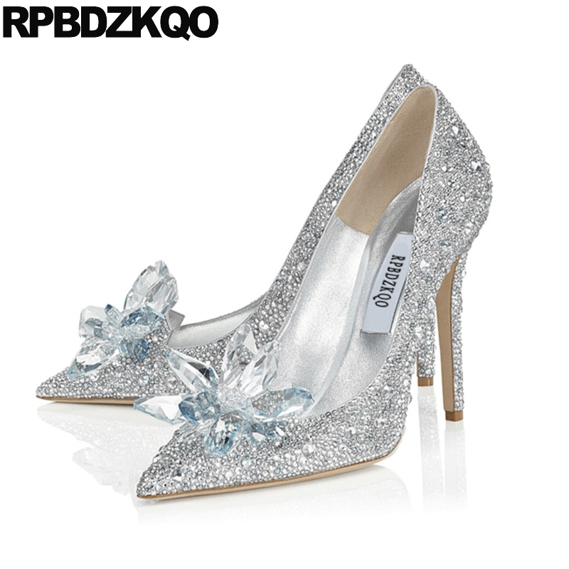 Bridal Silver Size 4 34 Crystal Sparkling Prom High Heels Party Sequin Footwear Wedding Shoes Glitter Bride Rhinestone Bling newest purple prom heels woman s pumps anniversary party prom dress shoe rhinestone bridal wedding shoes mother bride shoes