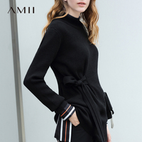 Amii Lace Up Knitted Sweater Women Autumn 2018 Causal Solid Bow Slim Wool Long Sleeve Elegant Women Pullover Sweaters