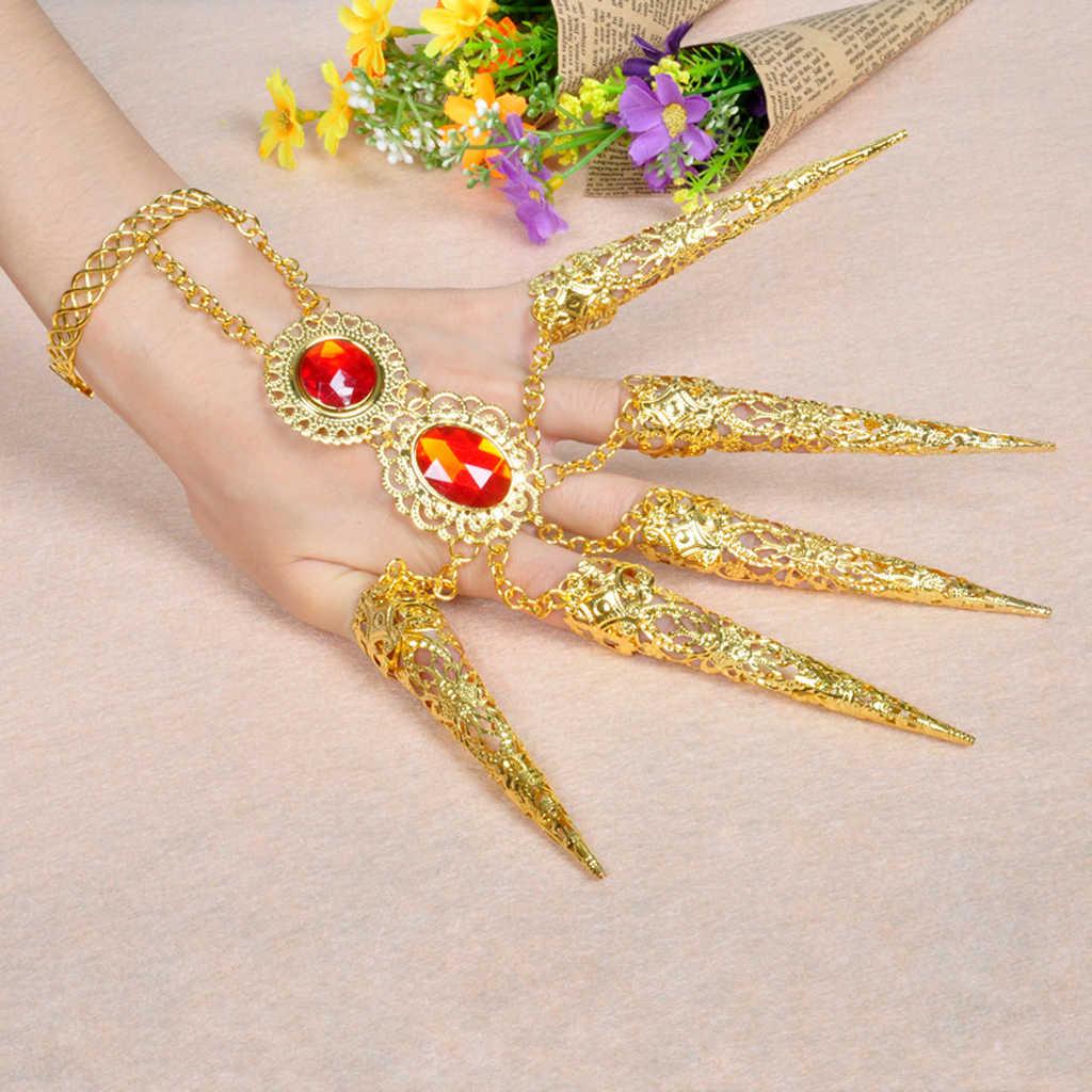 1 Pcs อินเดีย Belly Dance เล็บนิ้วมือชุดสร้อยข้อมือยาวเล็บประดิษฐ์เครื่องประดับสีแดงสำหรับเครื่องแต่งกายสำหรับ dancer