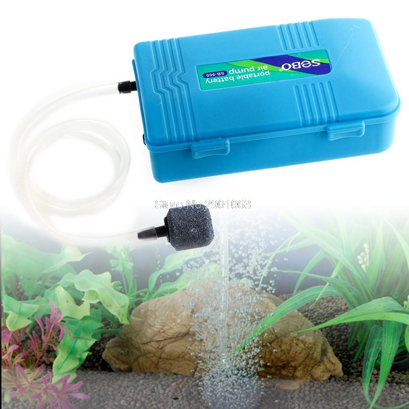 Aquarium Battery Operated Tank Fish Air Pump Aerator Oxygen w/Air stone Portable ...