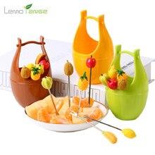 6PCS Fruit Fork Lemorange Fashion Stainless Steel Fruit Shape Party Cake Salad Vegetable Picks Decor Tableware TQQ0020