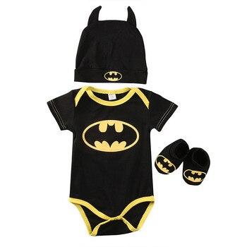 Traje de Batman 3 uds + zapatos + disfraces con sombrero trajes nuevos 2017 verano hermoso para recién nacidos ropa de niños de algodón