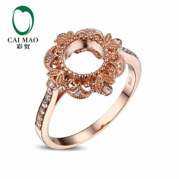 CaiMao Round cut Semi Mount Ring Settings & 0.15ct Diamond 14k Rose Gold  Gemstone Engagement